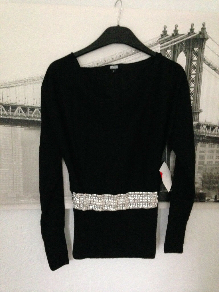 **BRAND NEW WITH LABELS** Womens size 6 black ASOS top with silver sequins across waist