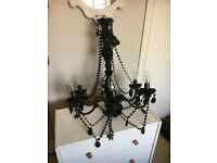 Black 6 light crystal effect chandelier perfect working condition