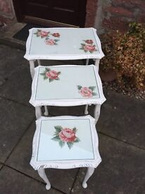Beautiful shabby chic, vintage nest of tables with floral decoupage.