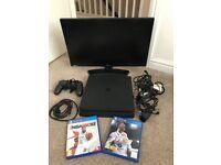"£225, Hardly used PlayStation 4 Slim 500GB, 19"" TV, Fifa 18, NBA 2K18"
