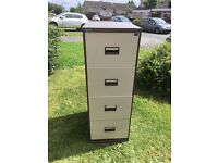 Triumph 4 drawer brown and beige metal filing cabinet