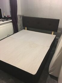 Brown suede king size bed