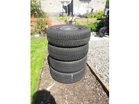 4 steel wheels. 2 winter and 2 summer tyres. 195/65R15