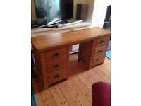 Desk for sale. Solid wood. Length 59ins depth 17ins height 31ins. Quick sale please