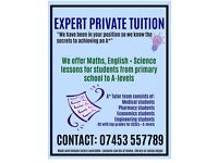 EXPERT PRIVATE TUITION LESSONS ( gcse , A-level , KS3 )