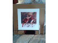 Lovely Copper Mirror Framed Picture of Modern Dancers