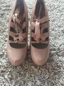 Pink, ribbon heels