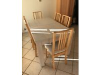 Ikea dining table & 6 chairs