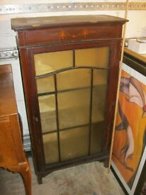 VINTAGE ORNATE FREE-STANDING GLAZED DISPLAY CABINET. LOCK & KEY. VIEWING/DELIVERY AVAILABLE