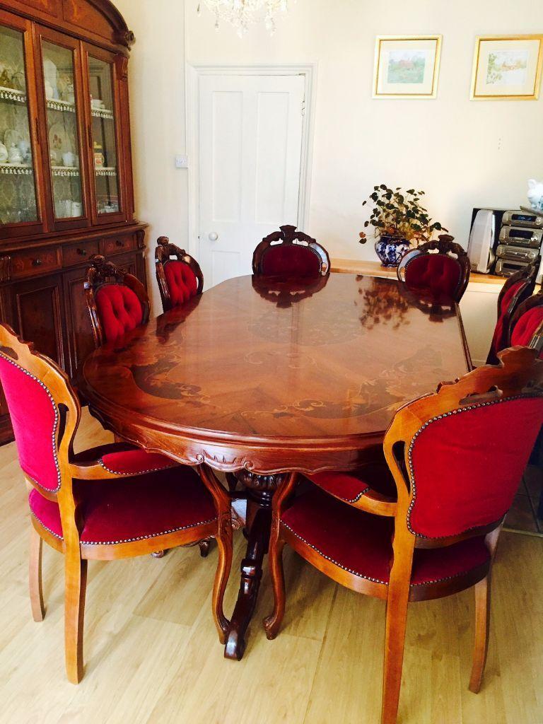 Italian Deco Burl Mahogany Dining Table Stunning 8 Seater Rococo Louis Xv Inlaid Di