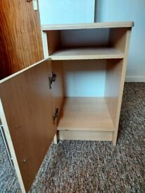 2 x Narrow wardrobes (one mirrored) and matching bedside table