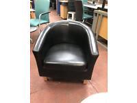 Black Leatherette Tub Chairs x2