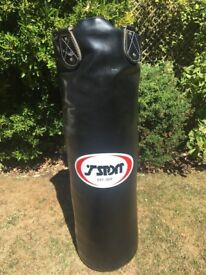 Leather punch bag 4 ft with ceiling bracket