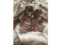 Pink faux leather jacket age 6/7