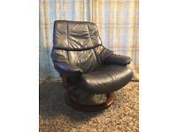 Large Ekornes stressless Reno armchair in navy blue leather