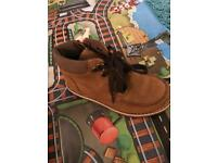 Boys Clark tan suede winter ankle boots 9f