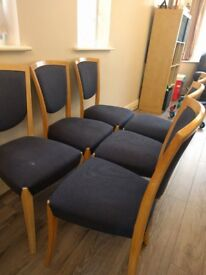 6 SOLID Italian dining room chairs. Very sturdy light wood with navy material NEW LOWER PRICE!