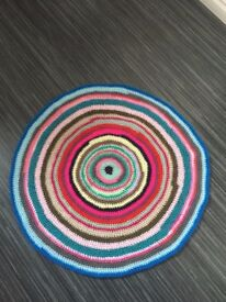 Rainbow Crochet carpet made from wool.