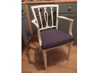 Stunning Georgian Carver Chair Painted in Antique White Colour & reupholstered in any fabric