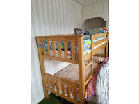 Wooden bunk bed with Memory Foam mattress,, splits into 2 beds