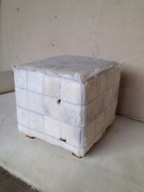 NEW GENUINE WHITE GOAT HIDE STOOL/ POUFFE NEW HEIGHT 450MM, WIDTH 450MM,