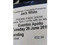 1 ticket for for Jack White 26/06 Eventim Apollo Stalls Standing