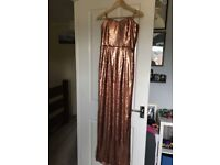 Rose gold sequined dress NEW size 8/10