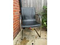 Leather and metal chairs