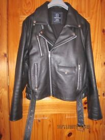 mens large 100% leather biker jacket german made like new only worn a few times