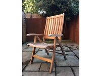 Garden chairs with cushions, solid wood, reclining settings, excellent condition