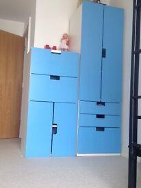 USED BLUE IKEA BOYS STUVA UNIT AND WARDROBE