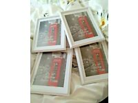 """Four White Wood Picture Photo Frames New Boxed Free Standing Or Hang 8"""" x 10"""""""