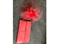Coral fascinator and matching handbag