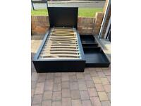 IKEA malm black single bed frame with 2 drawers