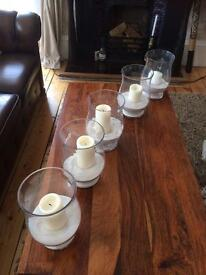 Centrepiece glass jar and candles x10