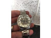 Rotary Skeleton Mechanical Watch Stainless Steel Band Strap