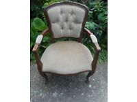 excellent vintage queen anne style armchair in good used condition
