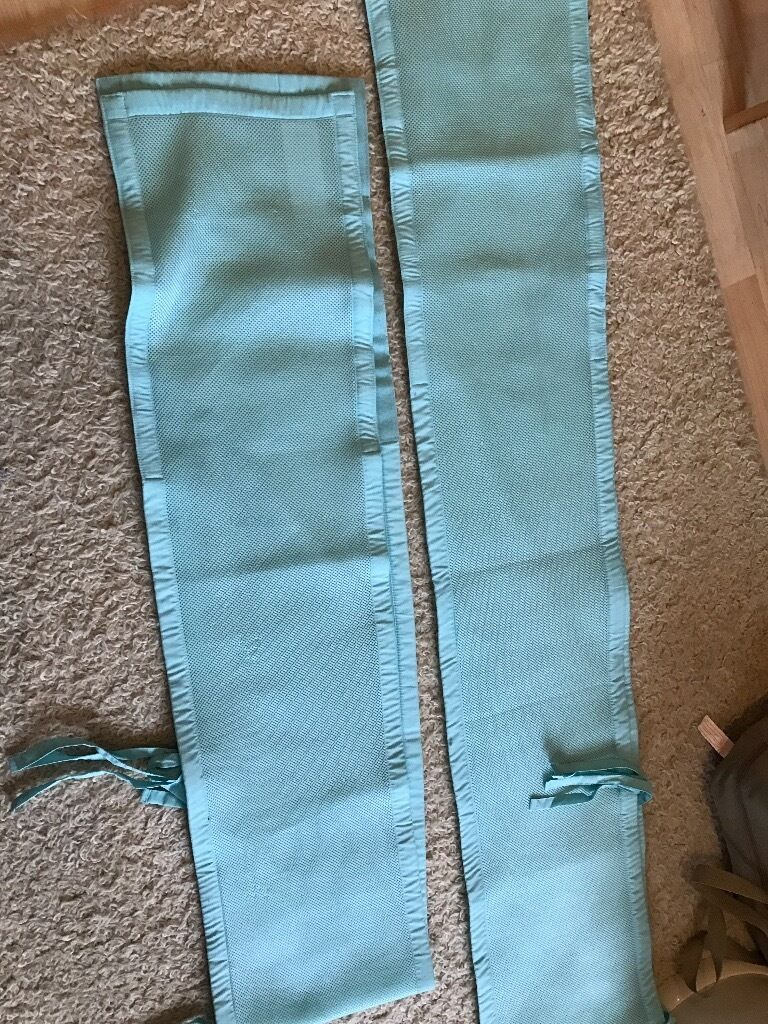 Breathable Baby Solid End Cot/Crib Bumpers - Aqua