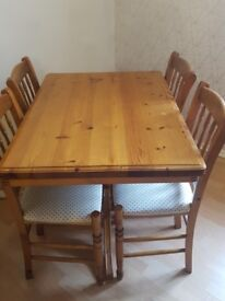 Dinning table & 4 chairs (wooden)