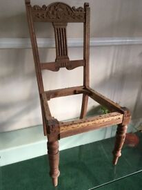 Edwardian ornately carved wooden chairs (6) ready for upholstery