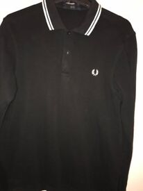 Fred Perry long sleeve black top size small slim fit.