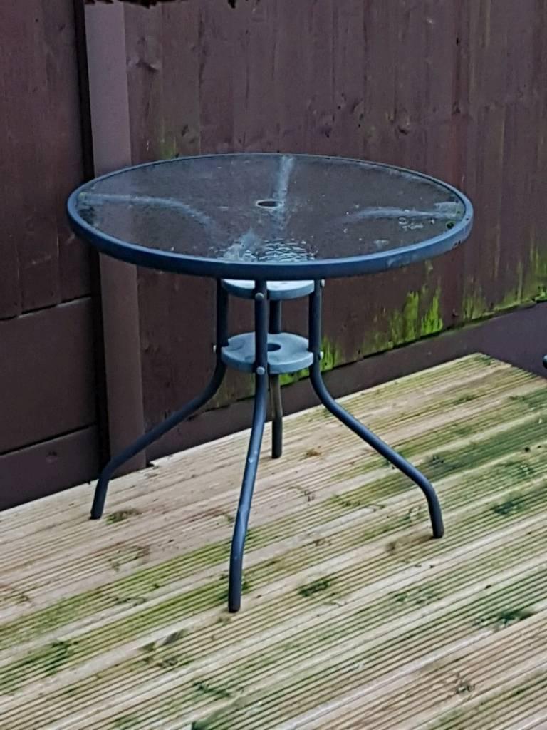 Patio garden balcony table glass top