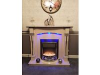 SOLID MARBLE FIRE SURROUND AND ELECTRIC FIRE