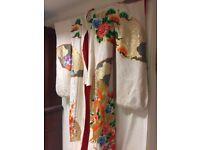 Traditional white Japanese Uchikake Wedding Kimono.