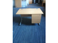 Straight Desk & Intergrated Side Ped Unit