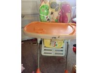 Reclining high chair from 5 months then converts for older child