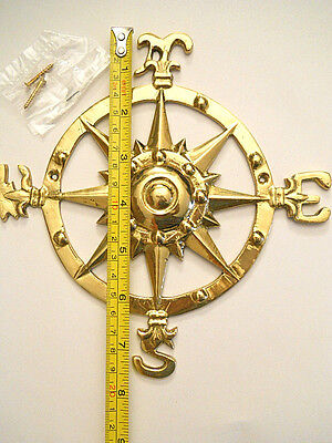"Nautical Maritime Brass Rose Compass Plaque Beach Sign Wall Hanging 8"" New"