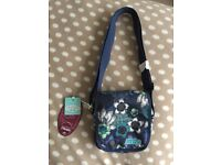 Animal, blue, floral shoulder bag. Zipped fastening; adjustable strap and pockets