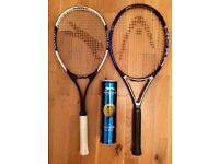 2 Tennis Racquets (Head & Slazenger) & 4 Tennis Balls (Slazenger)