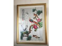 STUNNING CHINESE SILK EMBROIDERED PICTURE (EXCELLENT CONDITION) IN GOLDEN FRAME